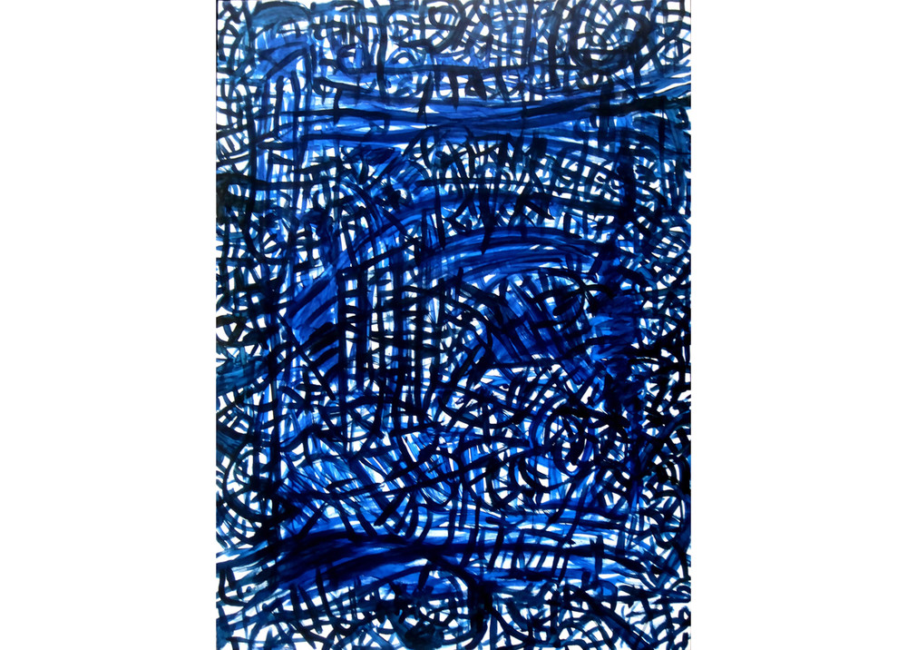 "Sound in Blue, Acrylic on canvas, 60"" x 44"""