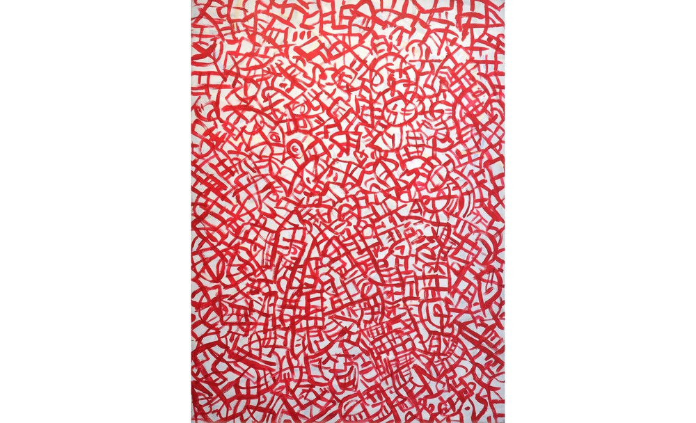 "Sound in Red, Acrylic on canvas, 60"" x 44"""