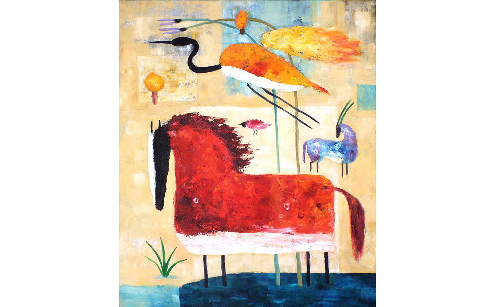 "Red Horse and Crane, Oil on canvas, 72"" x 60"", 2016"