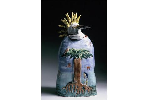 "Kate Missett Snowy Egret Terra cotta with majolica glaze 36"" x 15"" x 8"""