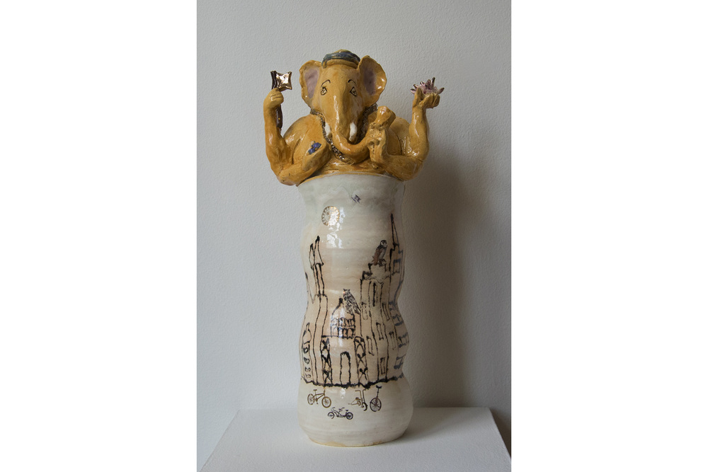 "Kate Missett Ganesh: Dawn in the City Porcelain with luster 19"" x 9"" x 5.5"""