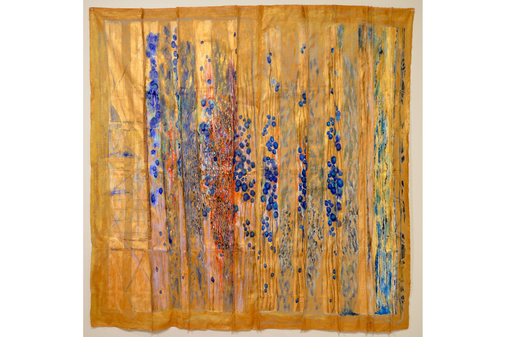 "Blossom Verlinsky Cries and Whispers Acrylic on folded linen 54"" x 54"""