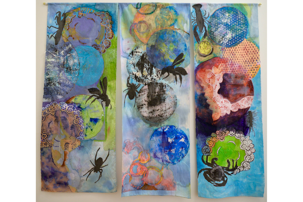"Cari Rosmarin Climate Change 2 Mixed media on cloth 52"" x 58"", 2016"