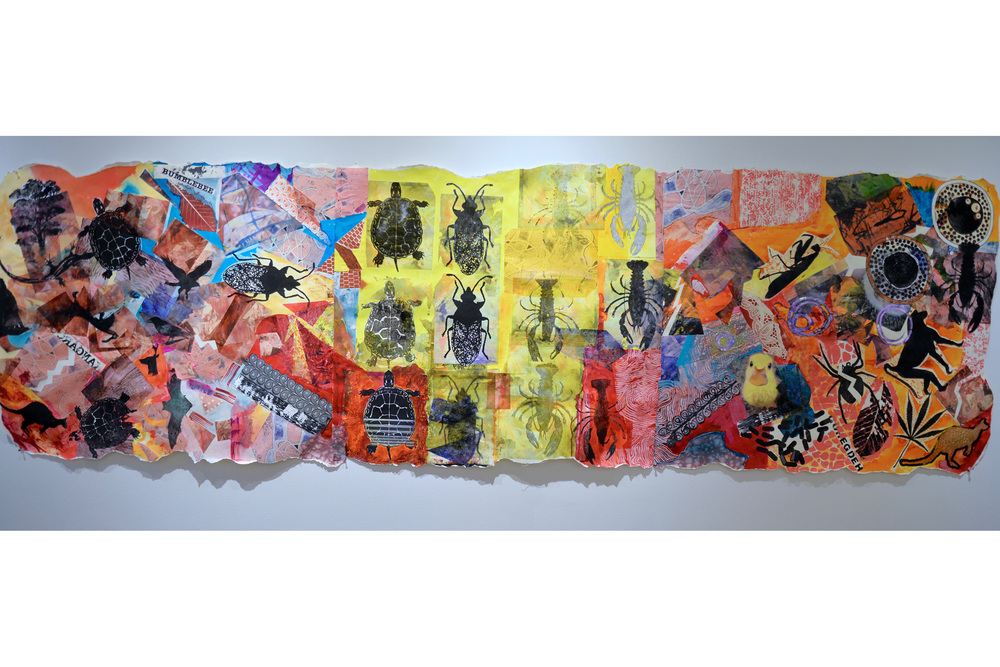 "Cari Rosmarin Climate Change 1 Collage and paint on paper 35"" x 116"", 2016"