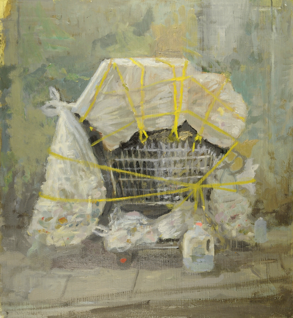 "Cart #4, oil on panel, 12"" x 12"", 2015"