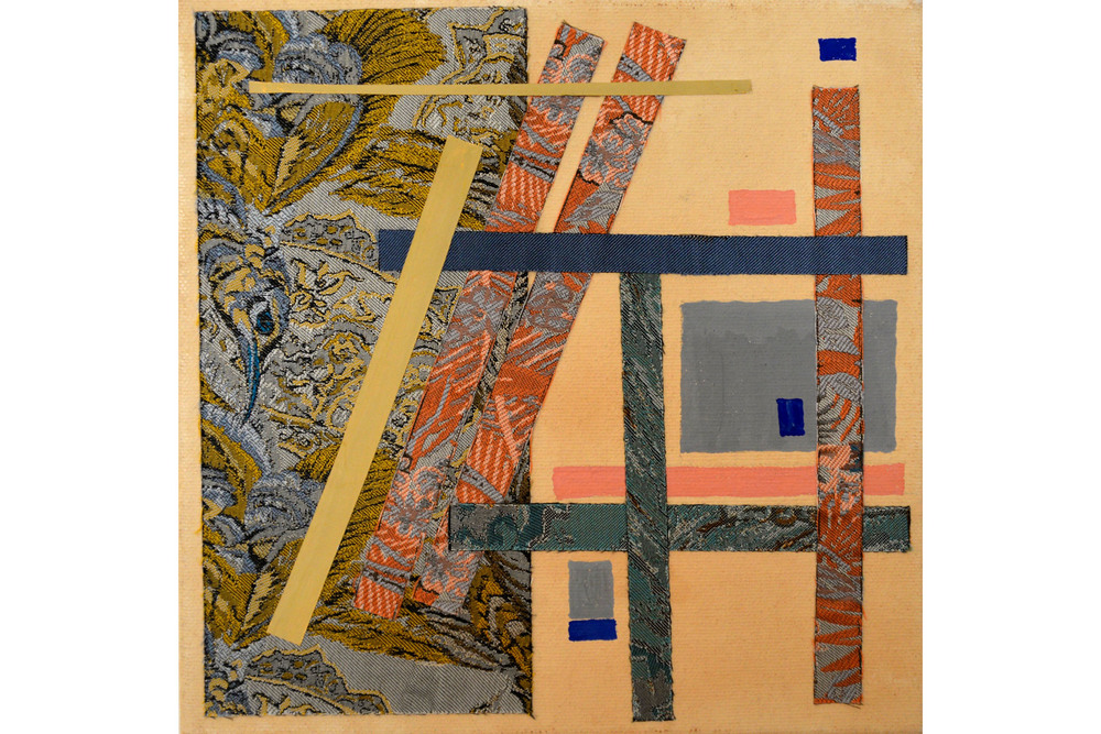 "Sara Petitt, Construction #1, Mixed media on canvas, 8"" x 8"", 2016"