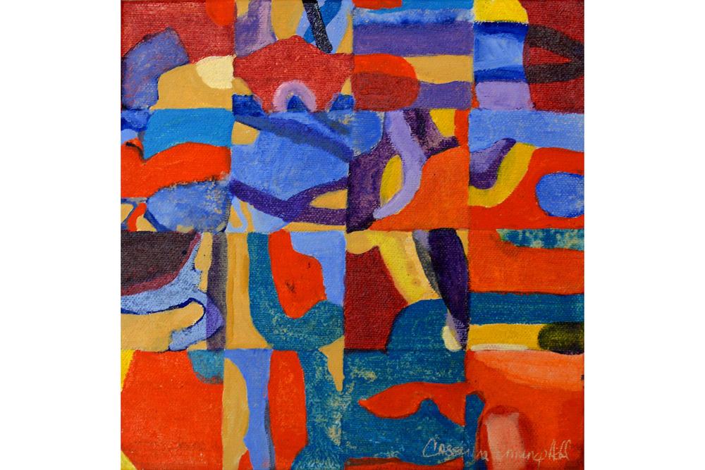 "Cassandra Jennings Hall, On a Whim #2, Acrylic on canvas, 8"" x 8"", 2016"
