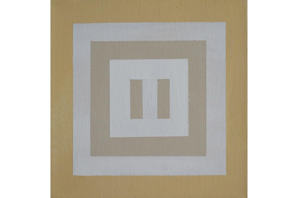 """Eveline Luppi, White Sands 0.2, Acrylic on canvas, 8"""" x 8"""", 2016"""