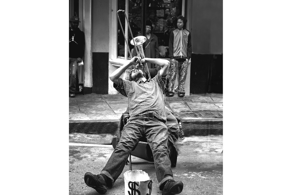 "Sandra Jetton New Orleans Trombone Black and white print  27.75"" x 22.75"", 2015"