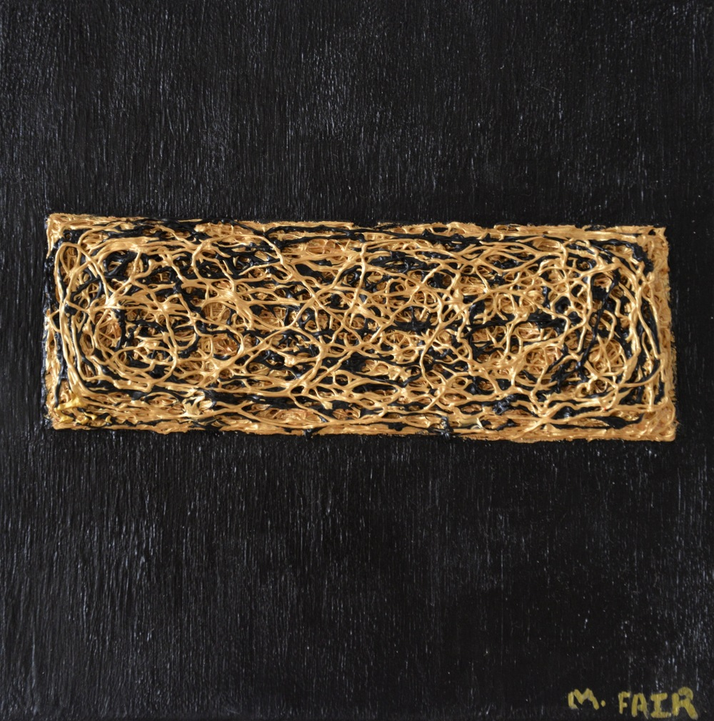 "Gold and Black Strand, acrylic of canvas, 8"" x 8"", 2016"