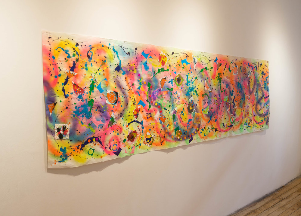 "Expressing My Joy, Mixed media on paper, 35"" x 120"", 2016"