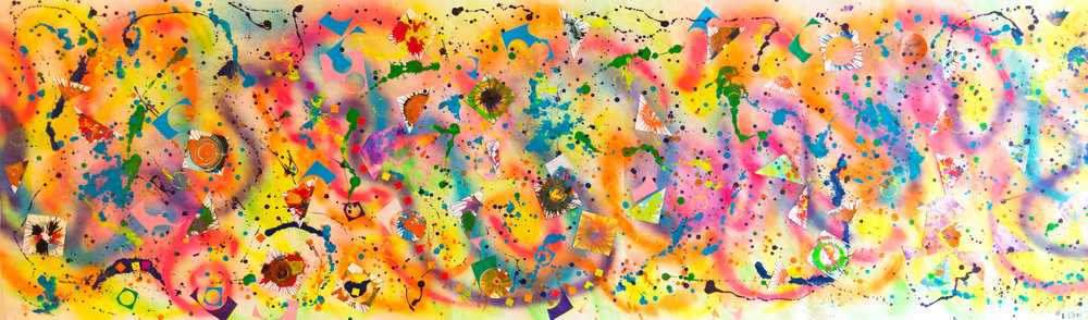 "Expressing My Joy, Mixed media on paper, 35"" x 120"", 2016"