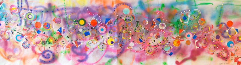 """Freedom Land, Mixed media on paper, 35"""" x 120"""", 2016"""