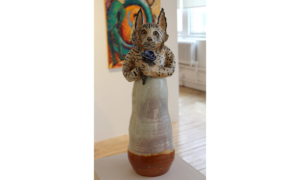 Missett, Lynx with Blue Rose, 2017, Glazed Ceramic, 24 x 8 x 8 inches, $850 .jpg