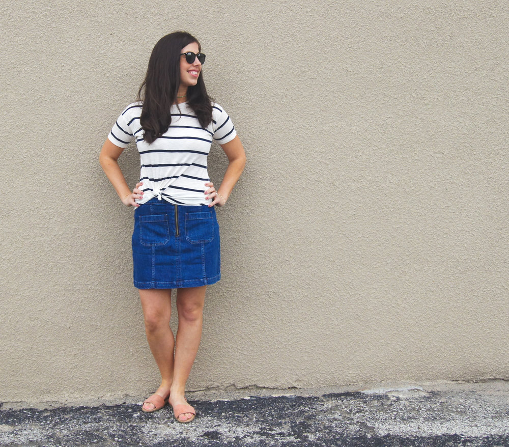 thatsdarling, sunnies, skinnyjeans, instapic, insta, instalike, shoot, date night look, date night style, date night outfit, dressy casual, tee style, jean skirt style, jean skirt, madewell style, mom style, 30s style, casual style, stripped tee, how to wear jean skirt, how to style jean skirt