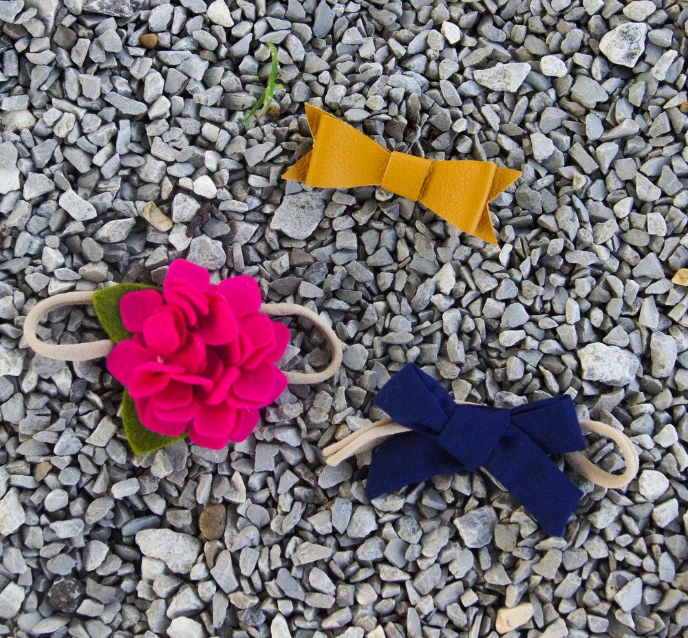 mustard leather bow, fuchsia hydrangea headband, and navy sailor bow
