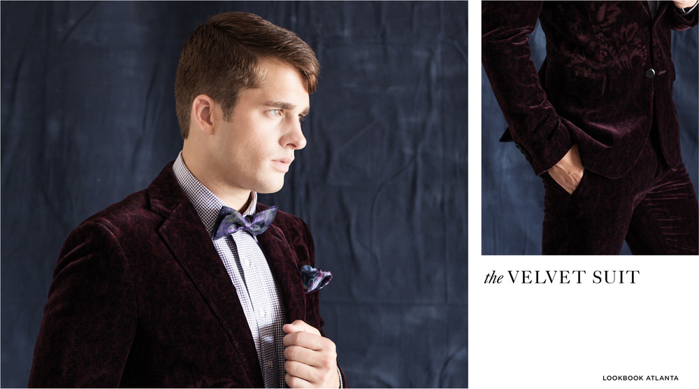 Purple and White Check Shirt, $675, Velvet Jacket, $3,445, Velvet Pant, $1,377, Bow Tie, $345, and Pocket Square, $225, all ETRO, all at Etro.
