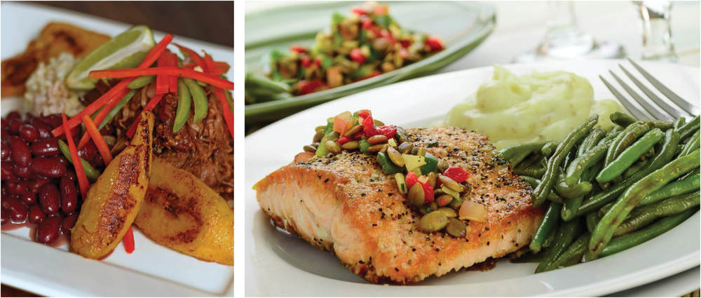 Ropa vieja and cedar plank salmon from Fresh n Fit Cuisine.