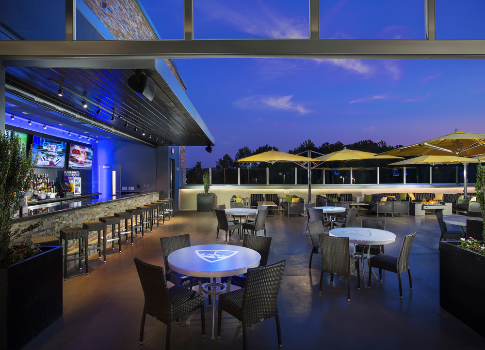 The rooftop bar at Topgolf.