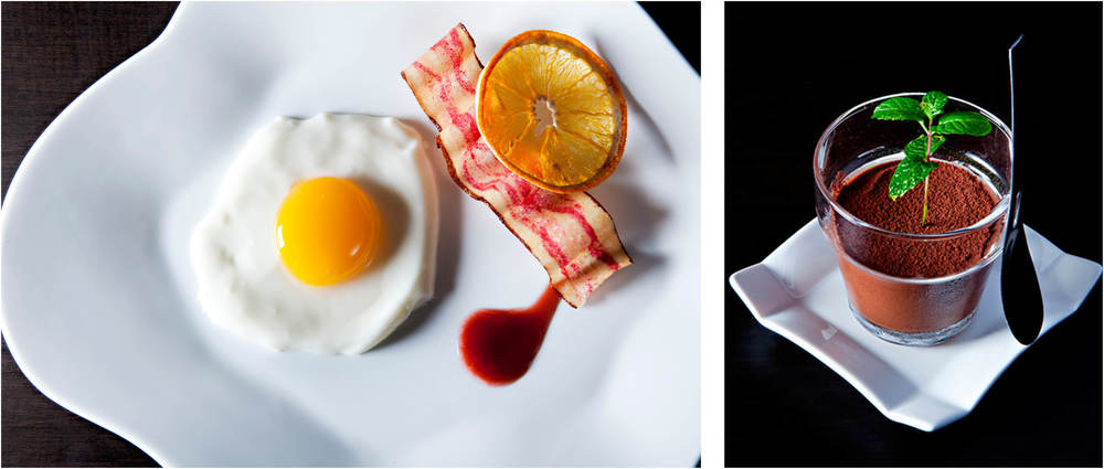 TOMO: Sample dessert offerings — Mango Sunny Side Up and Chocolate Plant, a blend of Belgian callebaut chocolate.