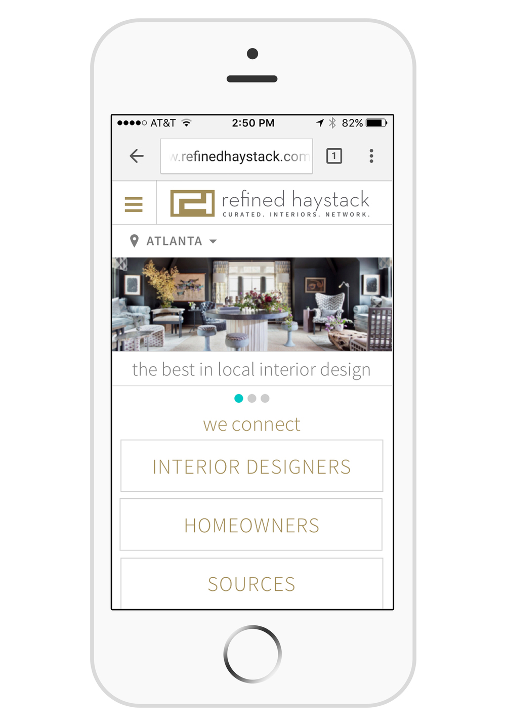 Mobile view of Refined Haystack's website.
