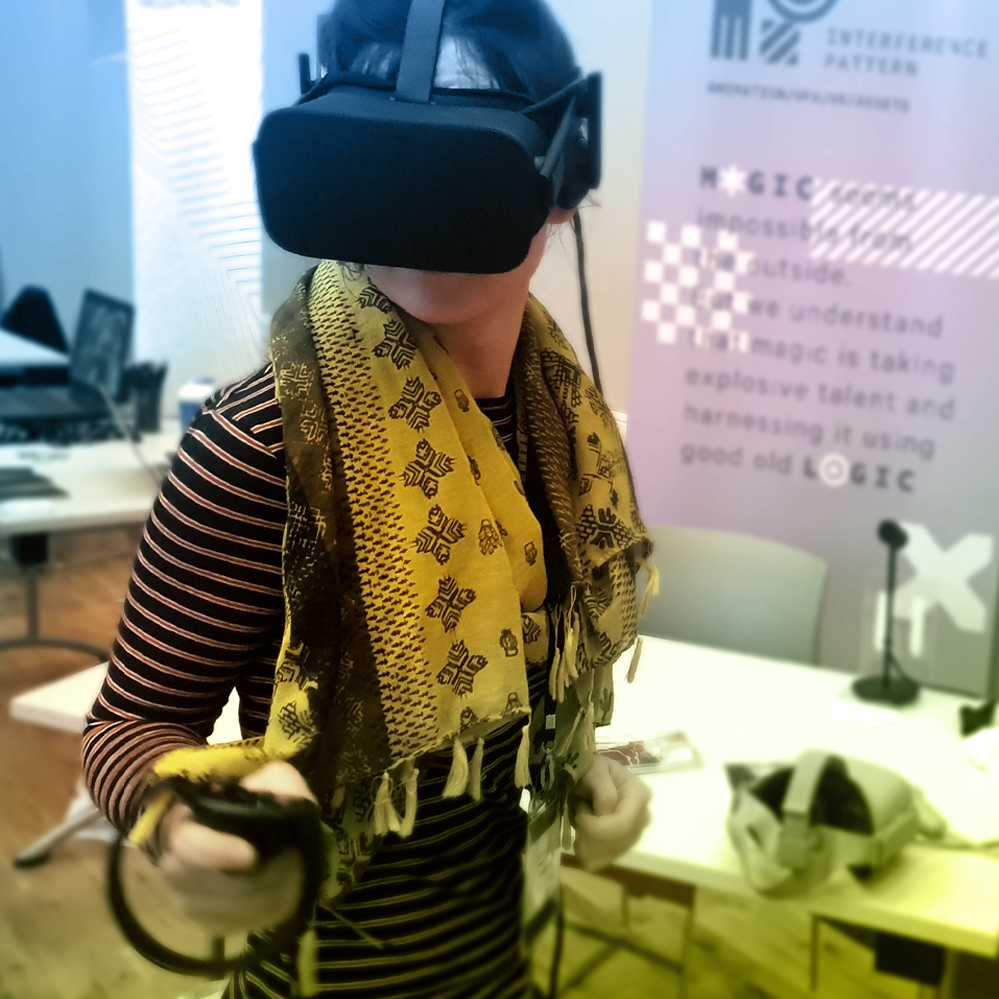 Sneaking into the exhibition hall during a quiet period meant extra time kidding out with the VR projects on show.
