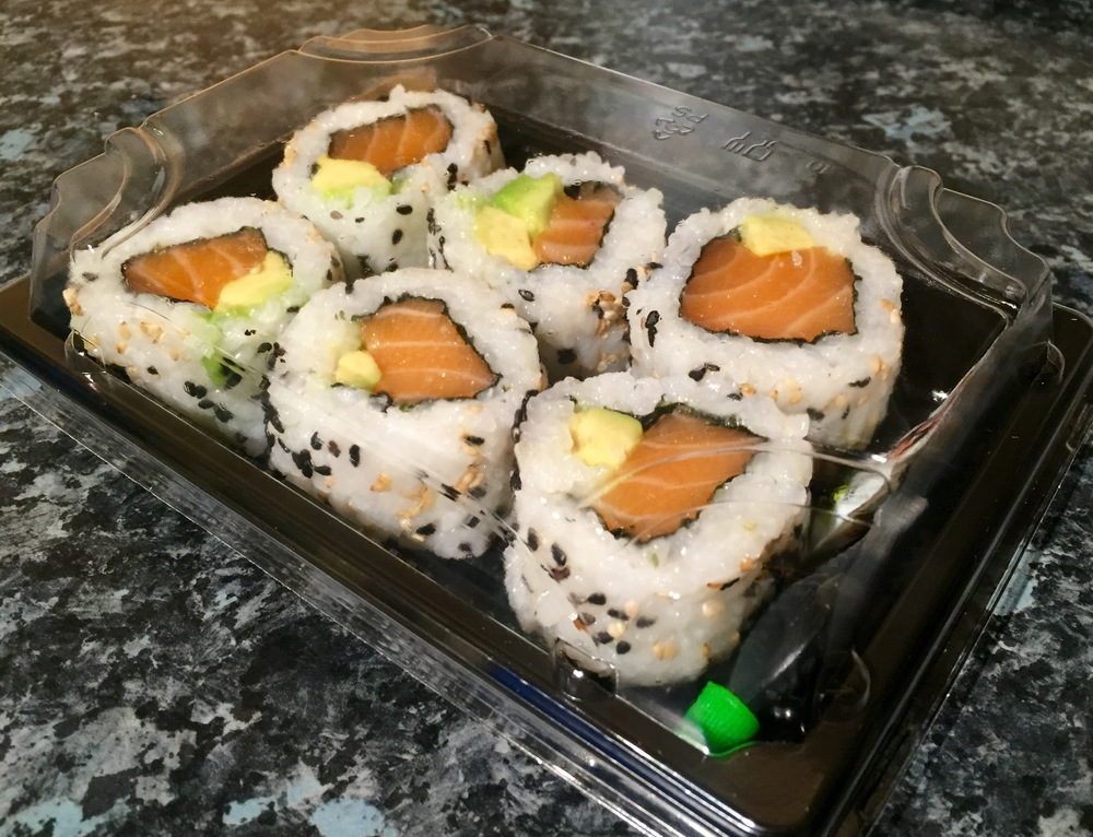 SALMON AND AVOCADO INSIDE OUT ROLLS - £5.50
