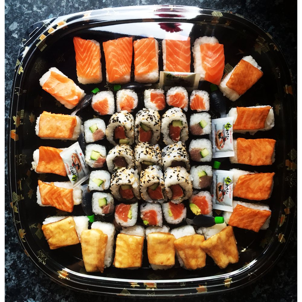 THE COMBO NIGIRI PLATTER - £40   A mix of nigiri, inside out rolls & maki.