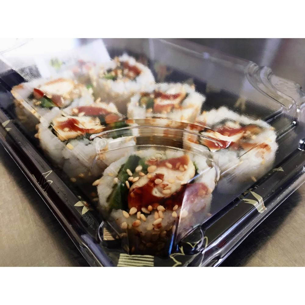 TERIYAKI CHICKEN SUSHI ROLL - £5.50   6 x teriyaki chicken sushi rolls.