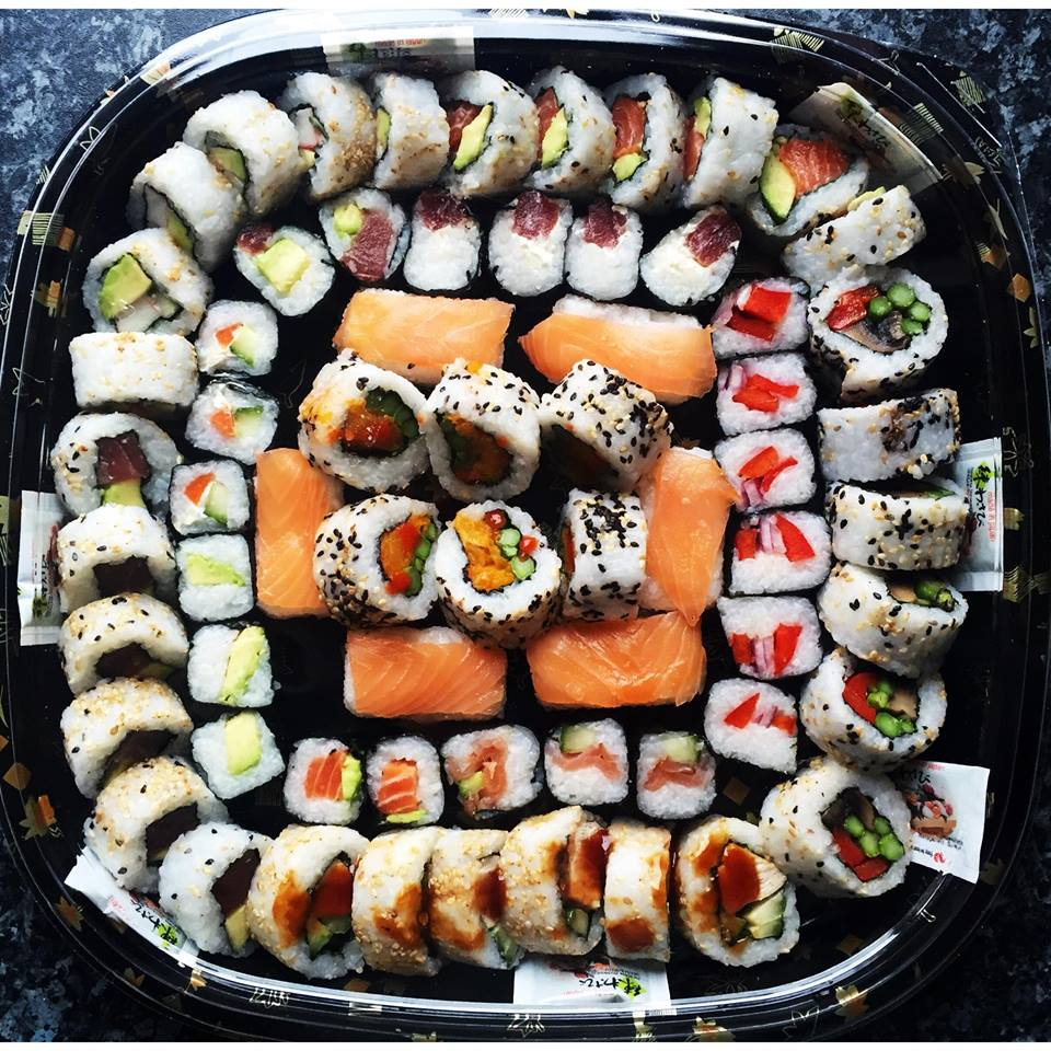 The Pick & Mix Platter - £38   Includes a range of inside out rolls - teriyaki chicken, california, salmon avocado, tuna avocado, mushroom, asparagus & roasted red pepper, butternut squash, asparagus & sryracha hot sauce. Maki includes fish and vegetable. Nigiri is smoked salmon.
