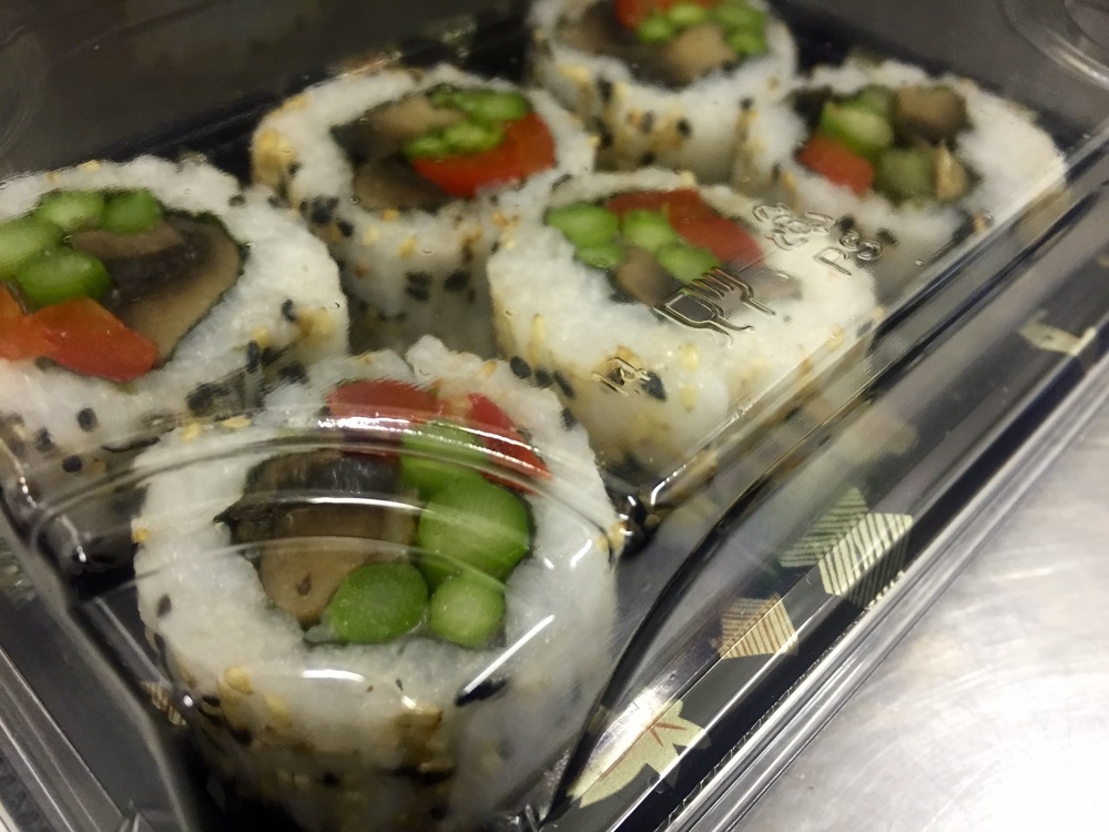6 x MUSHROOM, ROASTED RED PEPPER & ASPARAGUS INSIDE OUT ROLLS - £5