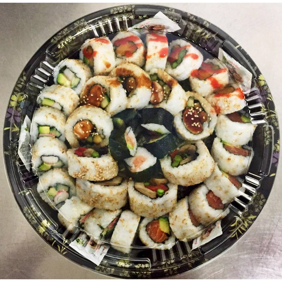 The Small Pick & Mix Platter - £25   Includes california rolls, butternut squash, asparagus & sriracha rolls, salmon and avocado rolls, mushroom, roasted red pepper and asparagus rolls, chicken teriyaki sushi rolls and a selection of salmon maki.