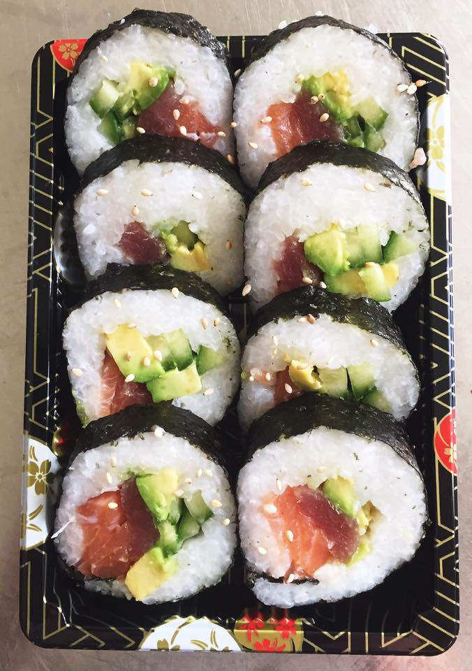 The Rainbow Futomaki Roll - £6.50   Tuna, avocado, salmon, cucumber and Japanese mayo.