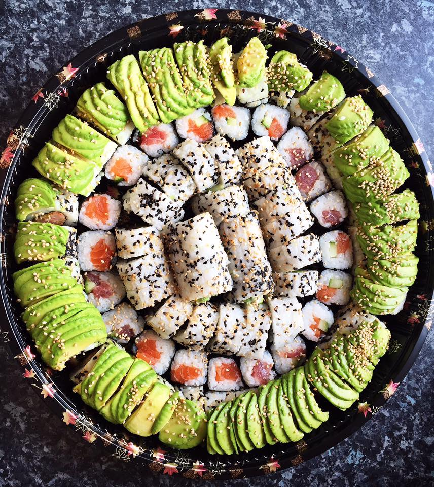 The Caterpillar Roll Platter - £38   3 x caterpillar rolls, a mix of fish maki, salmon avocado roll and a tuna cucumber roll.