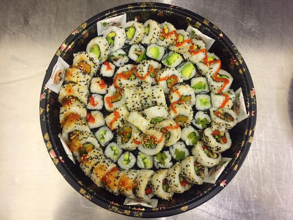 The Jumbo Vegan Platter - £32   Contains a mix of 5 veg rolls plus veg maki.