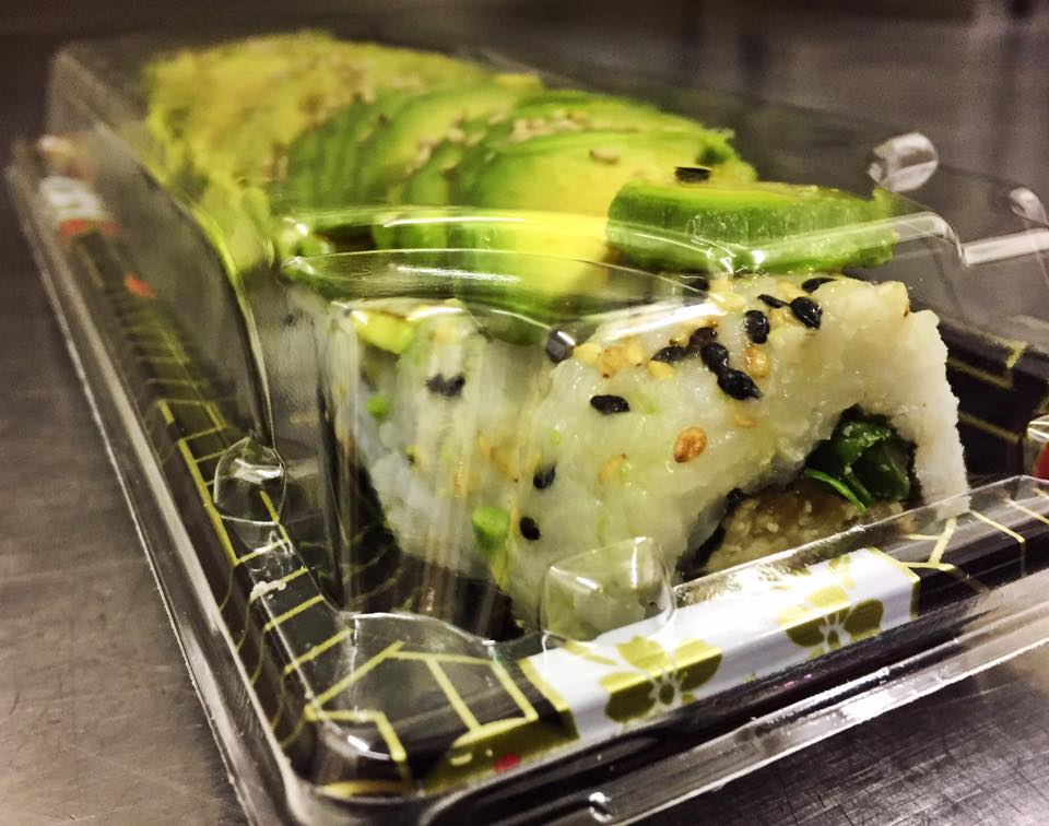 The Tofu Caterpillar Roll - £6   Tofu marinated in teriyaki, fried in breadcrumbs, lined with teriyaki sauce and romaine lettuce and pressed with avocado.