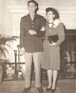 LOIS EILEEN STORHAUG (NOW CROOK) AND CLYDE RAY JONES, JR. ON THEIR WEDDING DAY, DECEMBER 15, 1946, IN BILOXI, MISSISSIPPI.