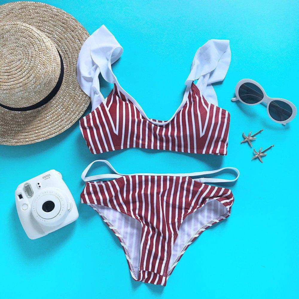 Red + white stripe bikini by  Floralkini