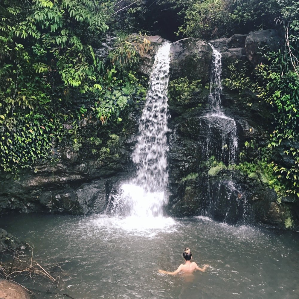 Ending our adventure with a swim under a private waterfall