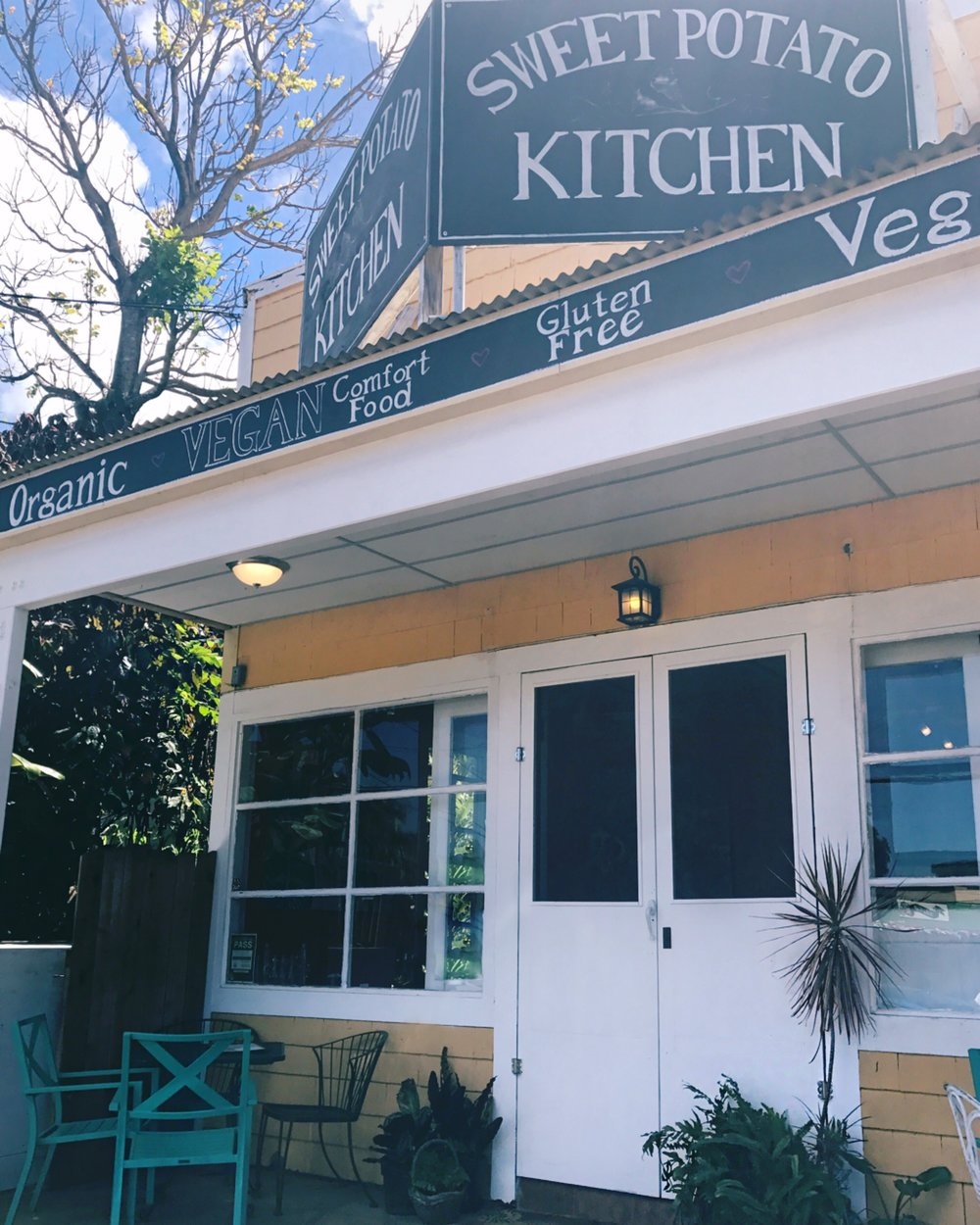 Sweet Potato Kitchen was our go-to spot in Hawi for organic bites
