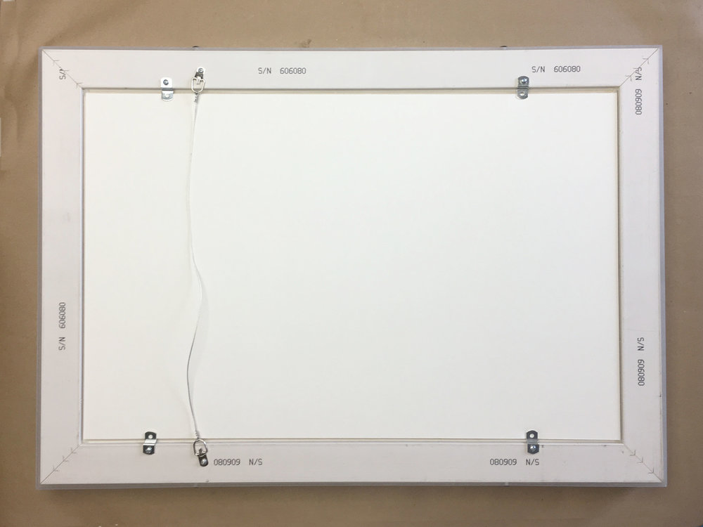 - The frame comes with hanging wire suitable for both horizontal and and vertical plus offsets fittings for holding in artwork. The offsets allow for a variety of artwork thicknesses to be framed.You will need a Phillips screwdriver to put artwork in the frame.