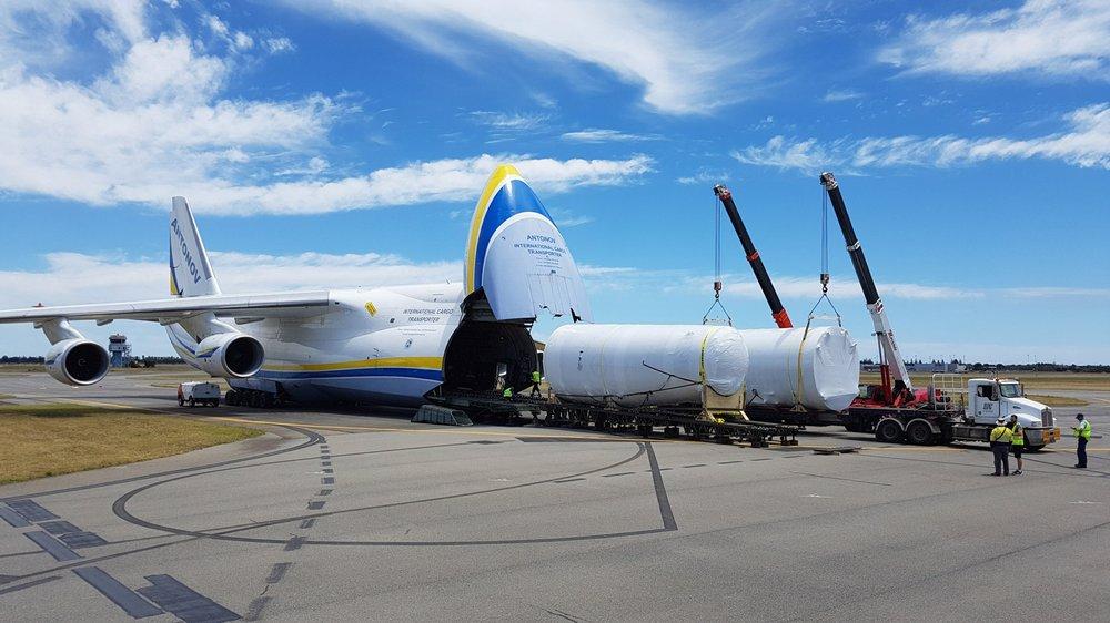 Ordnance Load Trainer (OLT) unloading at the RAAF Base - Edinburgh, Australia.