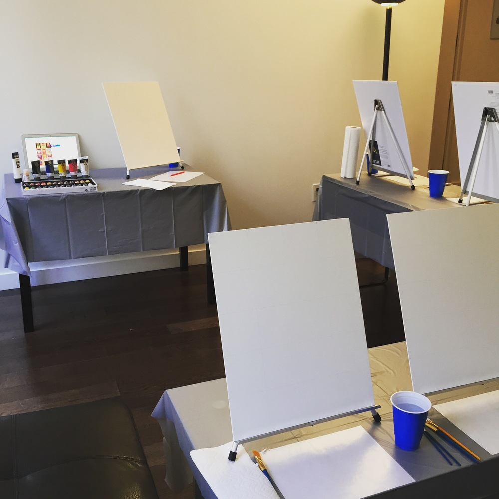 In-house paining session set-up