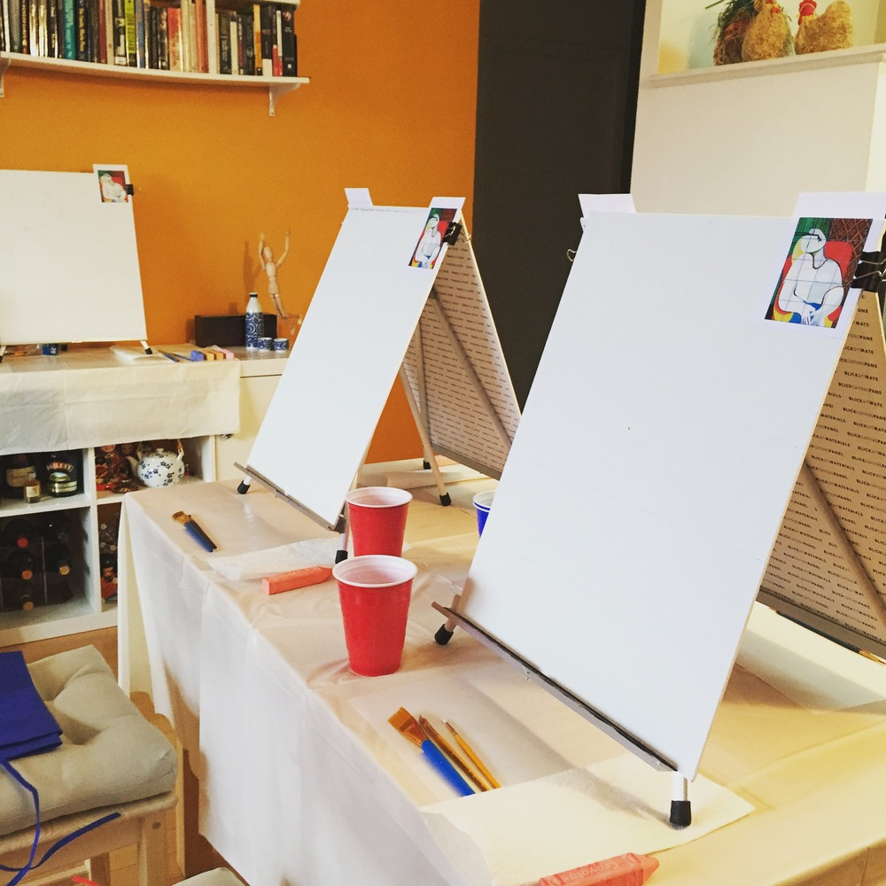 ART BOX in-home BYO Painting Party Set-Up