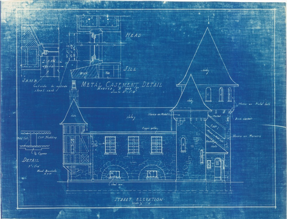 Original blueprint copy of Curwood Castle finished in 1923 in Owosso, Michigan