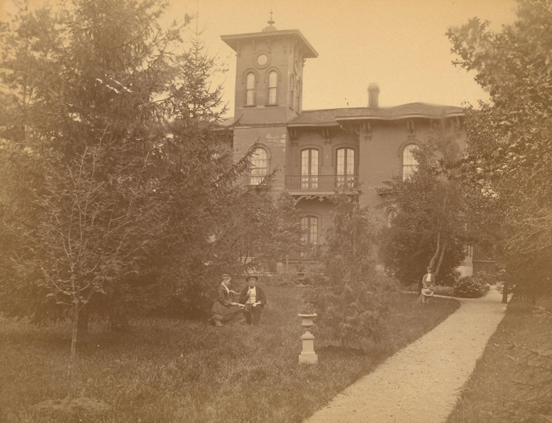 Gould House circa 1865 - Amos Gould with wife Louisa and daughter Philena May Gould