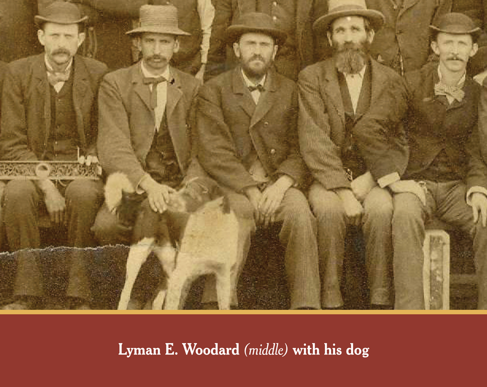 STAFF PHOTO: Woodard Brothers Planing Mill Employees in 1867. Lyman Woodard can be found in the photograph on the front row with a black hat and his dog.