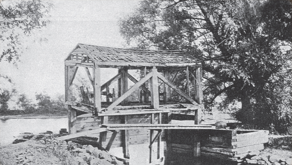 The Gatehouse:  This building stood at the beginning of the mill race. The gate was raised and lowered to control the water flow as it entered the race.