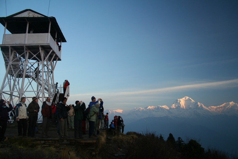 A typical morning at Poon Hill, Annapurna. (Dhaulagiri in the background)