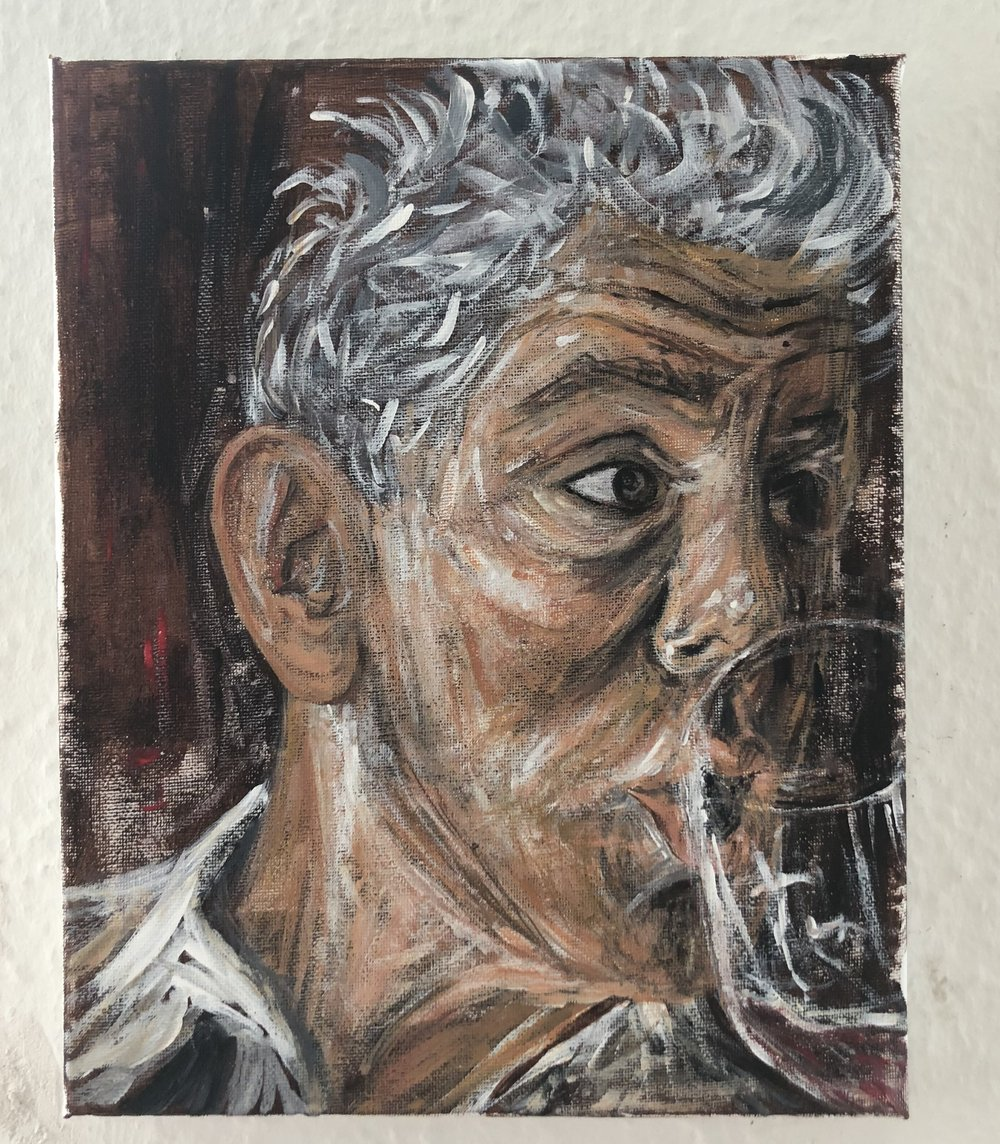 Anthony Bourdain. Acrylic on Canvas. By me.
